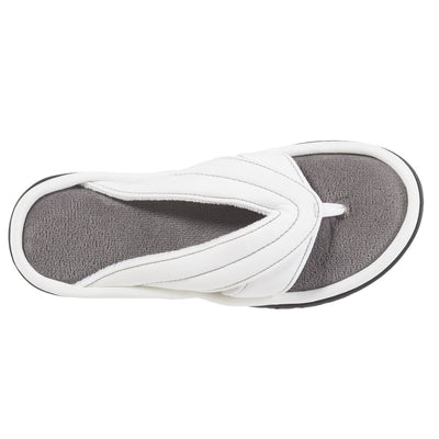 Women's Jodie Spandex Thong Slippers in White Top View