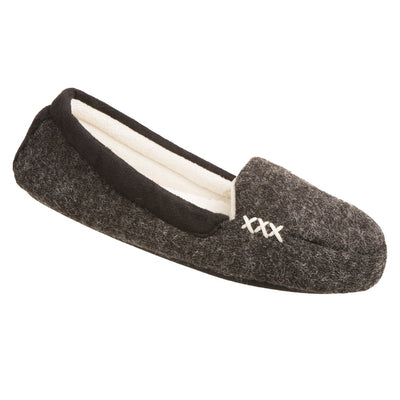 Women's Microsuede Marisol Moccasin Slippers in Black Right Angled View