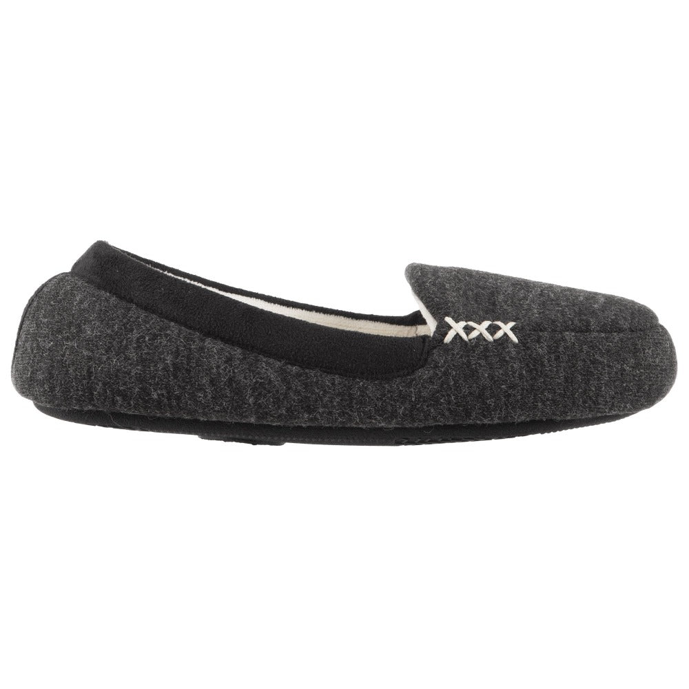 Women's Marisol Microsuede Moccasin Slippers Black Profile