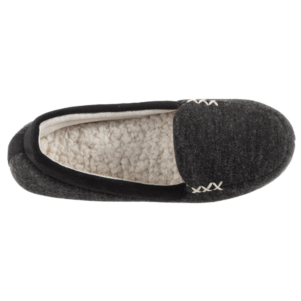Women's Marisol Microsuede Moccasin Slippers Black Inside Top View