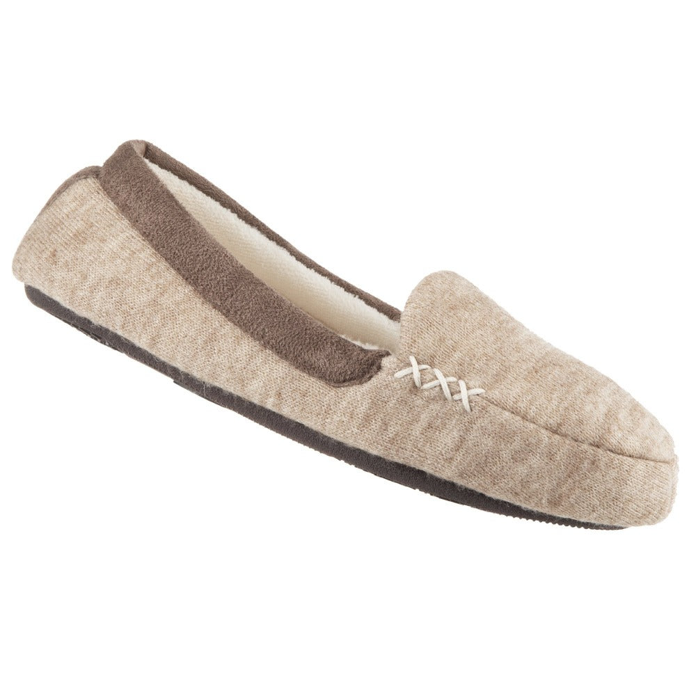Women's Microsuede Marisol Moccasin Slippers in Oatmeal Heather Right Angled View