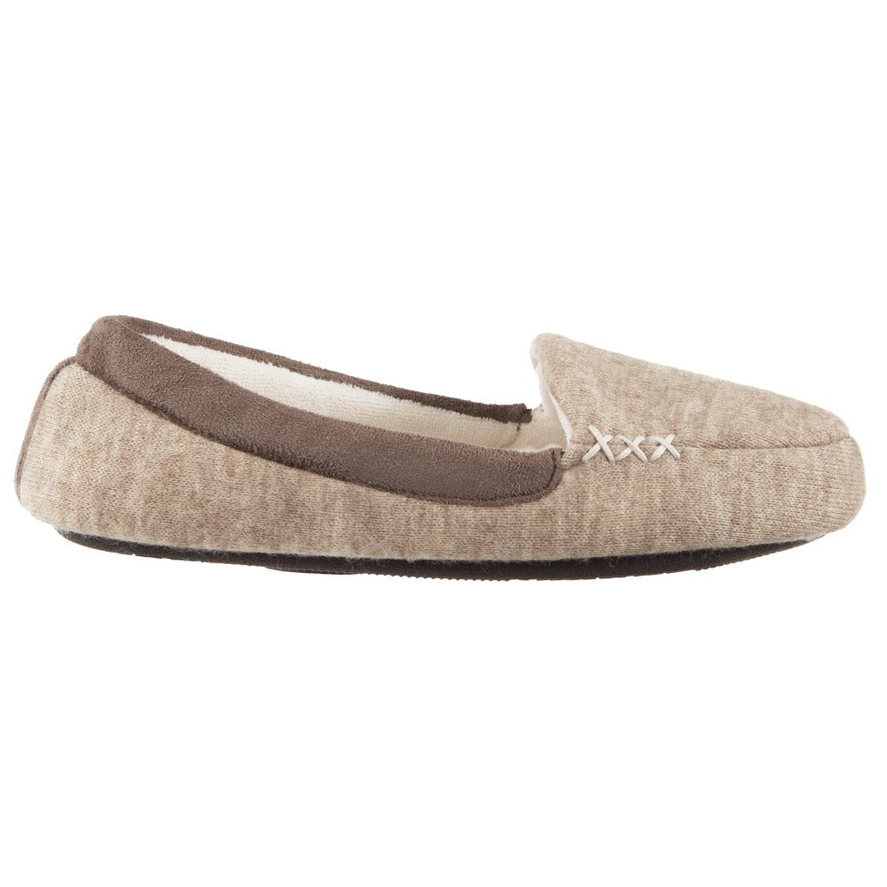 Women's Marisol Microsuede Moccasin Slippers Oatmeal Heathered Profile