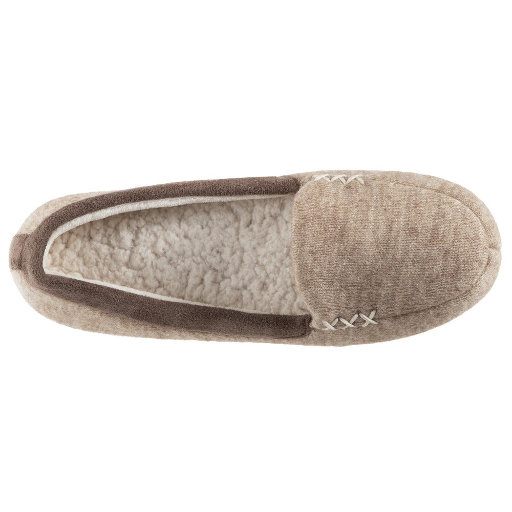 Women's Marisol Microsuede Moccasin Slippers Oatmeal Heathered Inside Top View