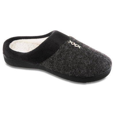 Women's Marisol Microsuede Knit Hoodback Slippers in Black Right Angled View