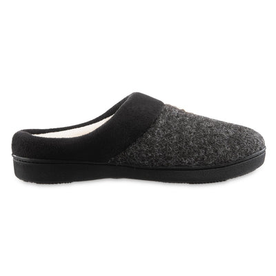 Women's Marisol Microsuede Knit Hoodback Slippers Black Profile
