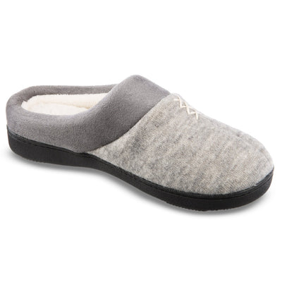 Women's Marisol Microsuede Knit Hoodback Slippers in Heather Grey Right Angled View