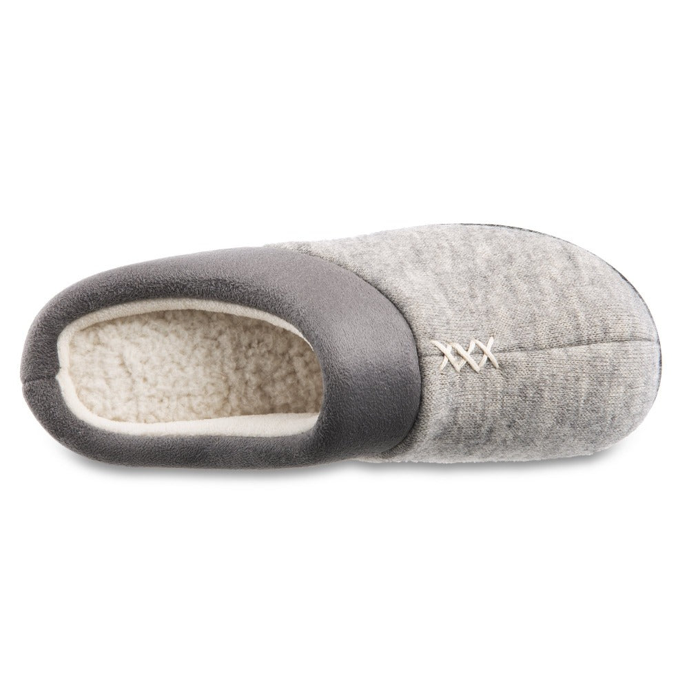 Women's Marisol Microsuede Knit Hoodback Slippers in Heather Grey Inside Top View