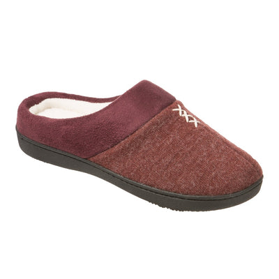 Women's Marisol Microsuede Knit Hoodback Slippers in Henna (Maroon) Right Angled View