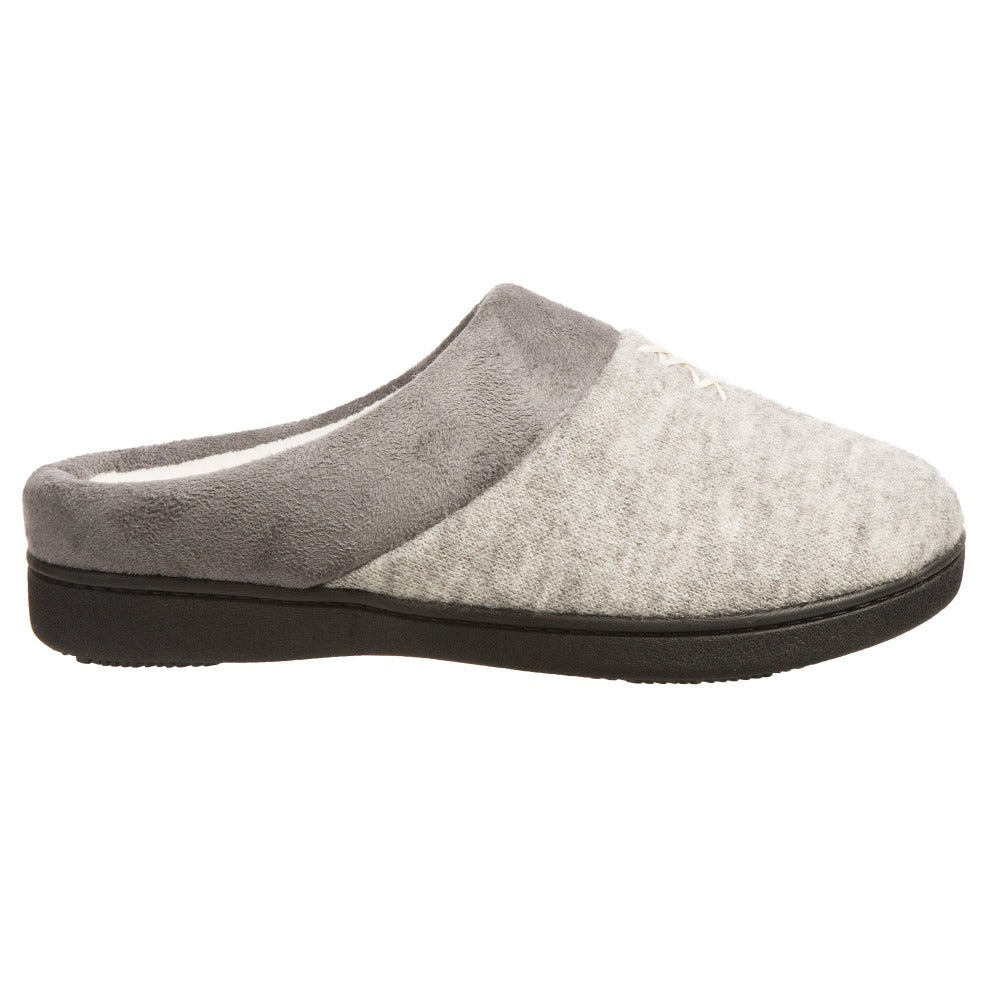 Women's Marisol Microsuede Knit Hoodback Slippers in Heather Grey Profile