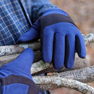 Men's Fleece Gloves with Pieced Back in Blue on Model