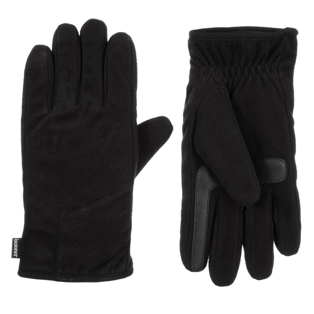 Men's Fleece Gloves with Pieced Back in Black Front and Back View
