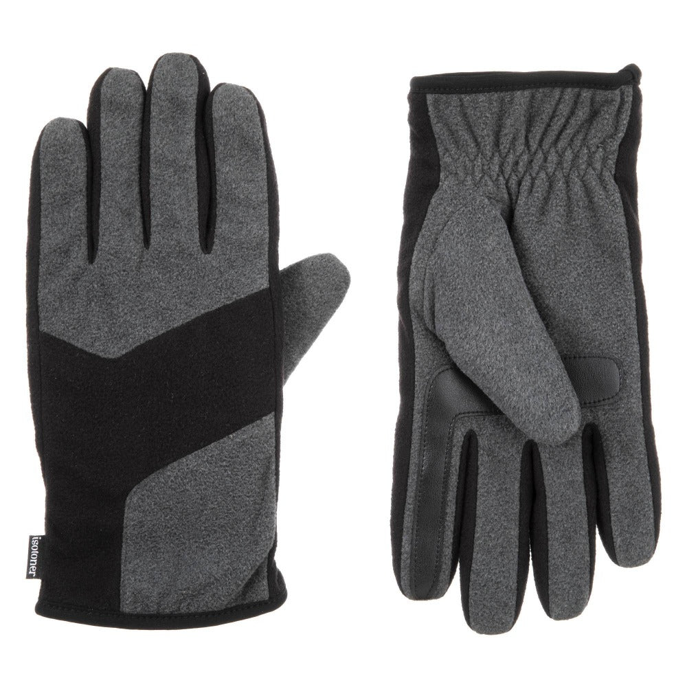 Men's Fleece Gloves with Pieced Back in Dark Charcoal Heathered (Grey) Front and Back View