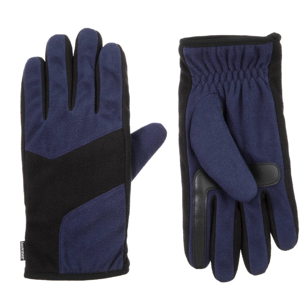Men's Fleece Gloves with Pieced Back in Navy Blue Front and Back View