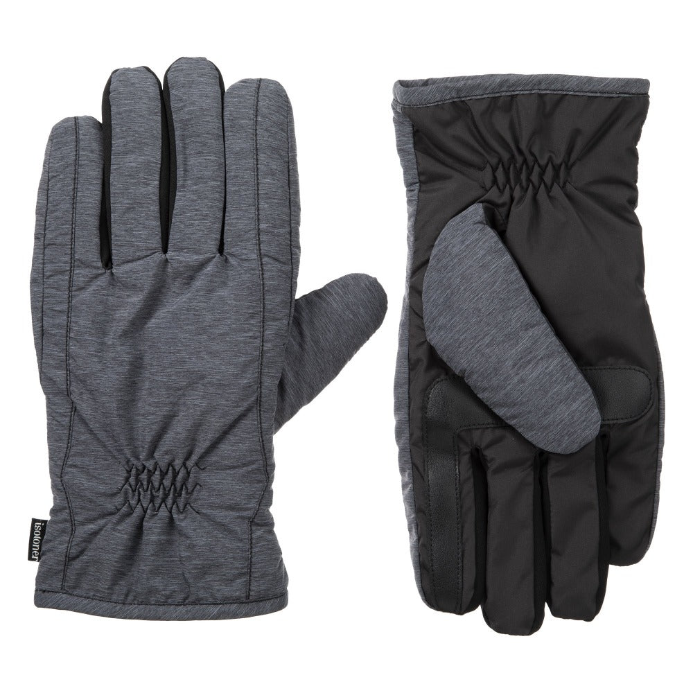 Men's Nylon Gloves with Pieced Back in Mineral Front and Back View