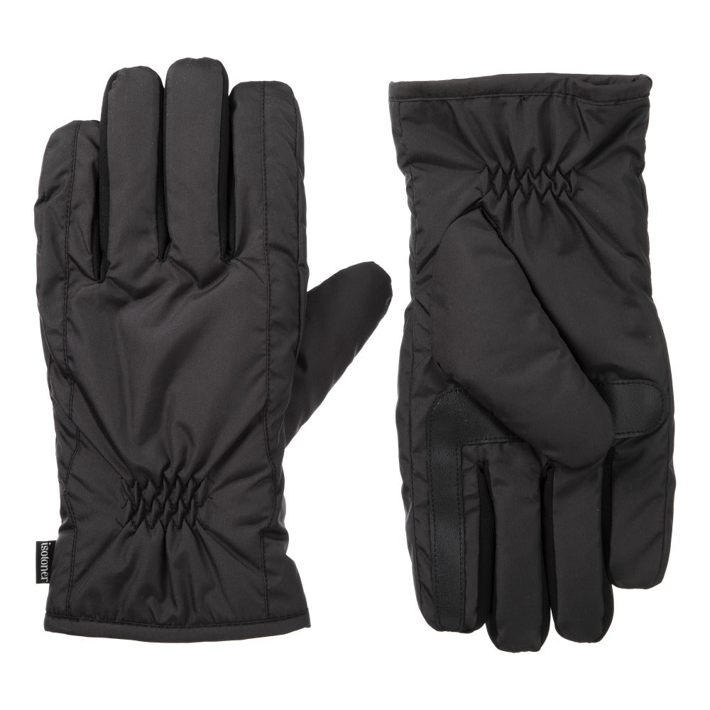 Men's Nylon Gloves with Pieced Back in Black Front and Back View