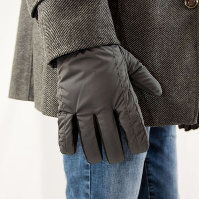 Men's Nylon Gloves with Pieced Back in Black on Model