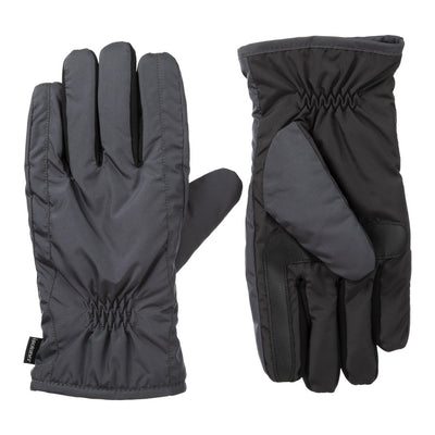 Men's Nylon Gloves with Pieced Back Black Heather Front and Back View