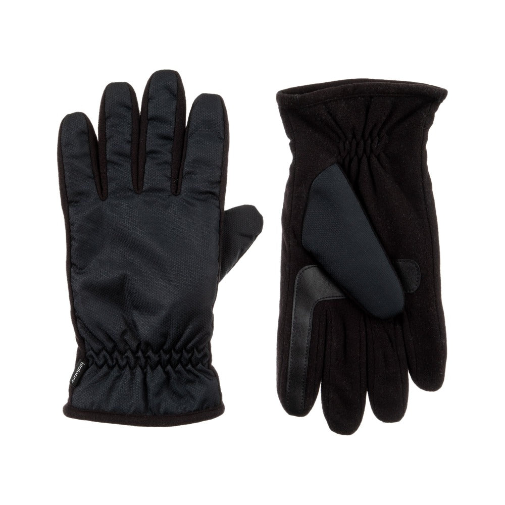 Men's Nylon & Fleece Gloves with Gathered Wrist in Black Front and Back