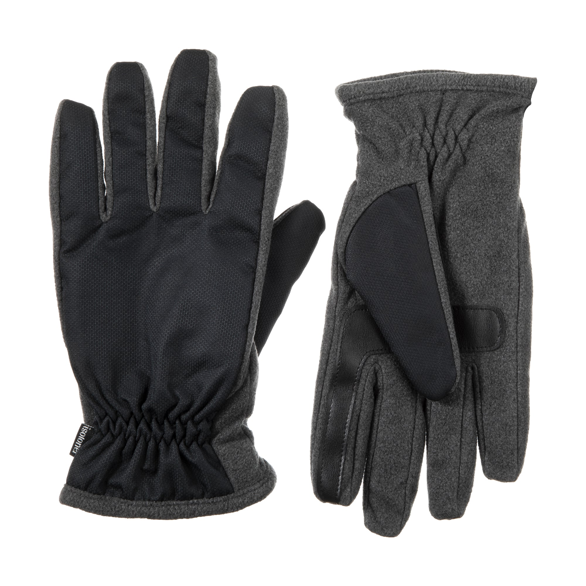 Men's Nylon & Fleece Gloves with Gathered Wrist Dark Charcoal Heathered (Grey) Front and Back