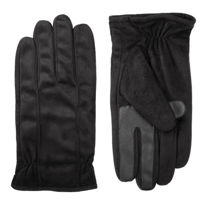 Men's Signature Microfiber Gloves with Back Draws in Black Front and Back