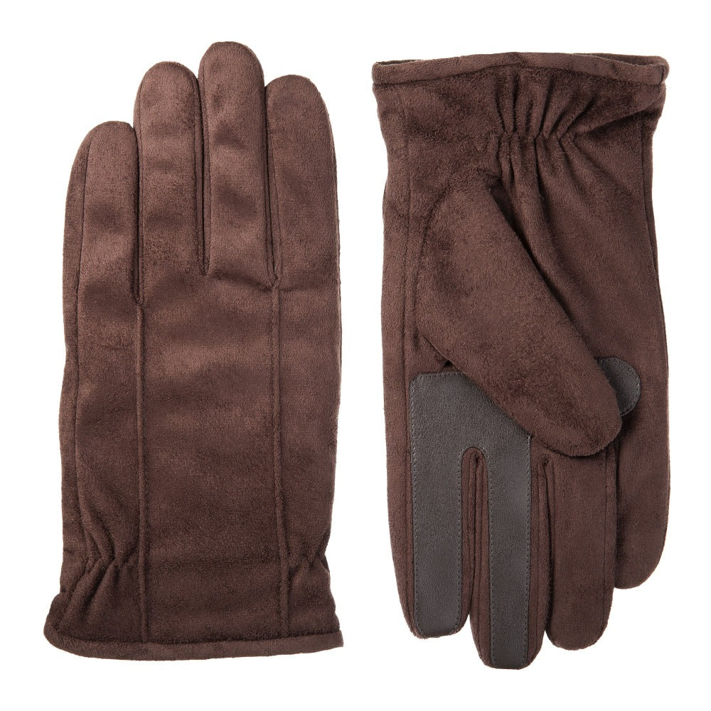 Men's Signature Microfiber Gloves with Back Draws in Brown Front and Back View