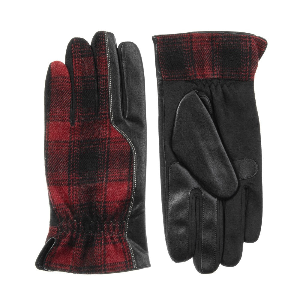 Men's Faux Suede and Microfiber Gloves in Black (Black and Red Plaid) Front and Back View