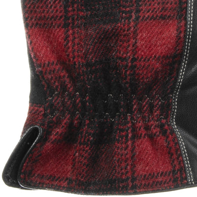 Men's Faux Suede and Microfiber Gloves in Black (Black and Red Plaid) Cuff Detail