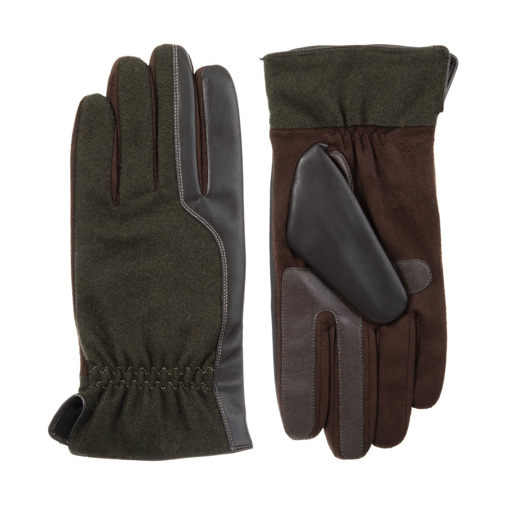 Men's Faux Suede and Microfiber Gloves in Brown Front and Back View