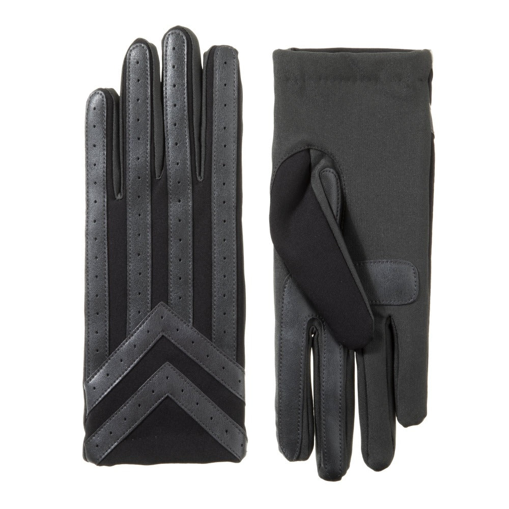 Men's Spandex Applique Chevron Gloves in Black Front and Back