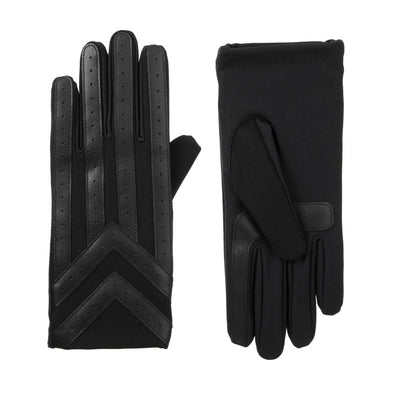 Men's Heritage Woven Applique Chevron Gloves in Black Front and Back