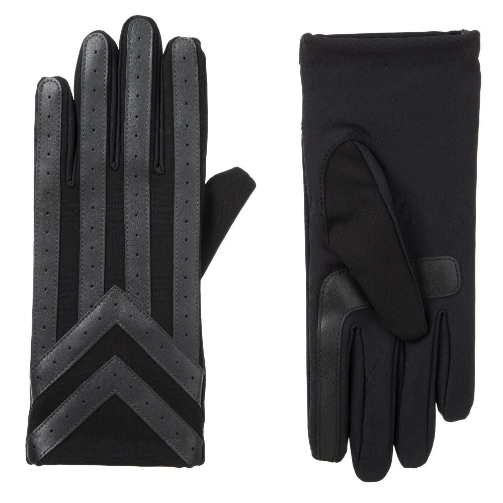 Men's Heritage Woven Applique Chevron Gloves in Charcoal Front and Back