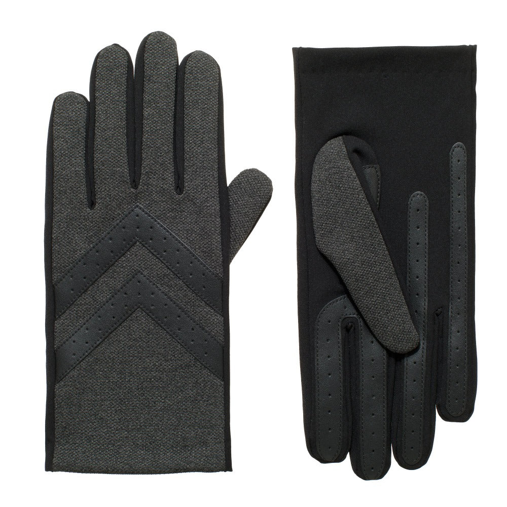 Men's Chevron Gloves in Black Heather Front and Back View
