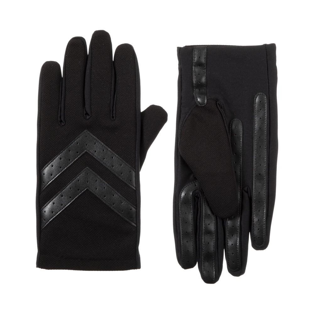Men's Chevron Gloves IN Black Front and Back View