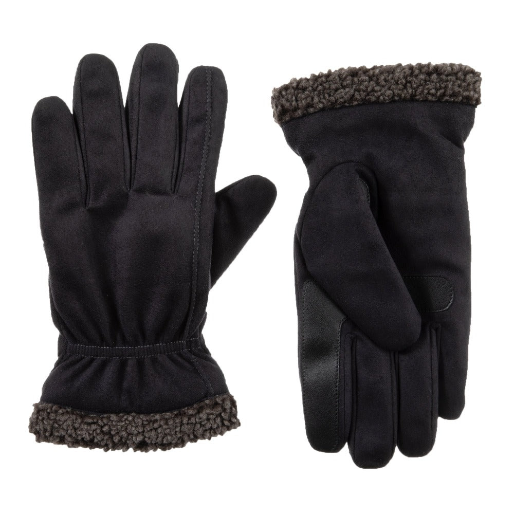 Men's Microfiber Gloves with Berber Spill in Black Front and Back