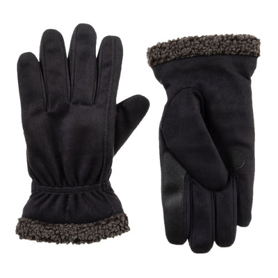Men's Recycled Microsuede and Berber Glove pair in Black side by side