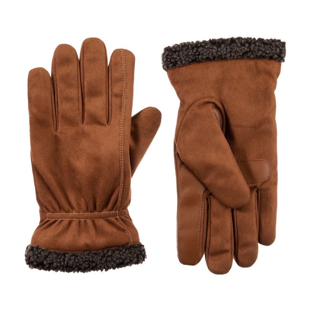 Men's Recycled Microsuede and Berber Glove pair in Cognac light brown with dark brown berber cuff side by side