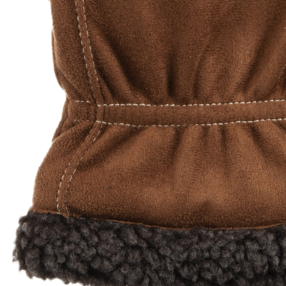 Men's Recycled Microsuede and Berber Glove pair in Cognac light brown with dark brown berber cuff close up on gathered wrist and lining detail