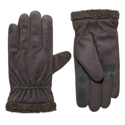 Men's Recycled Microsuede and Berber Glove pair in Lead Grey side by side