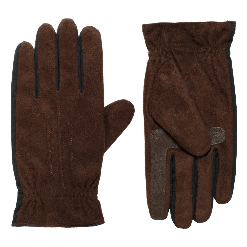 Men's Recycled Stretch Microsuede Gloves with THERMAflex Lining in dark brown