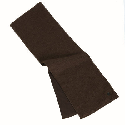 Men's Solid knit scarf with fleece lining in color chocolate