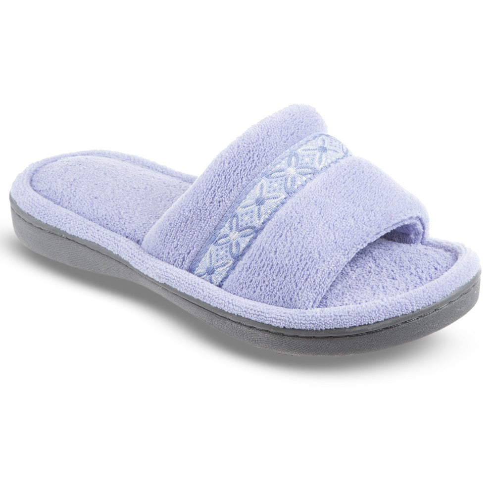 Women's Microterry Jenna Slide Slippers in Perwinkle Right Angled View