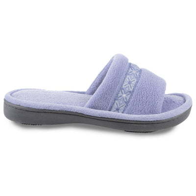 Women's Microterry Jenna Slide Slippers in Periwinkle Profile