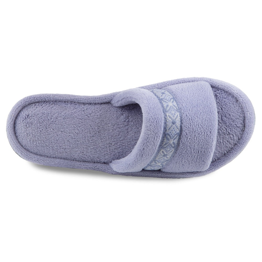 Women's Microterry Jenna Slide Slippers in Periwinkle Inside Top View