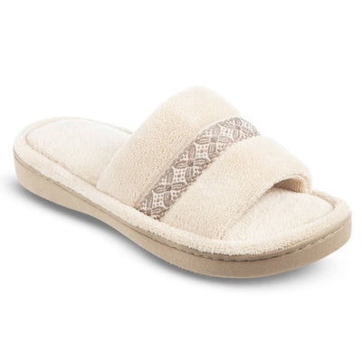 Women's Microterry Jenna Slide Slippers in Sandtrap Off-White Right Angled View