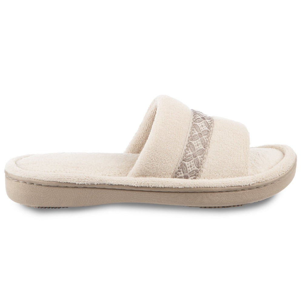 Women's Microterry Jenna Slide Slippers in Sandtrap Off-White Profile