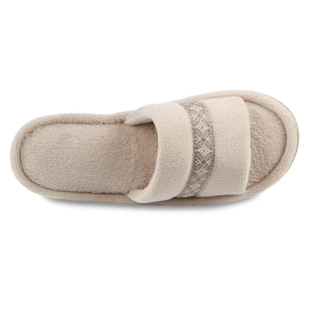 Women's Microterry Jenna Slide Slippers in Sandtrap Off-White Inside Top View