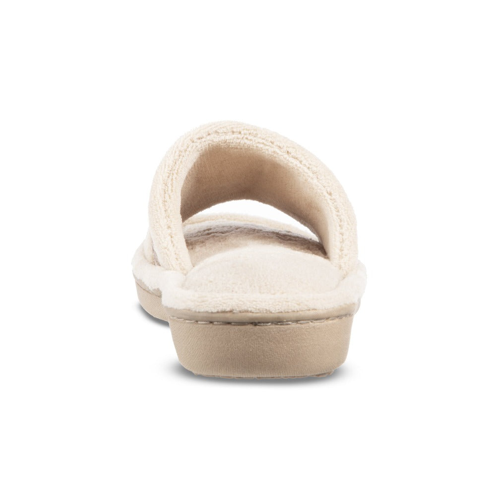 Women's Microterry Jenna Slide Slippers in Sandtrap Off-White Back Heel