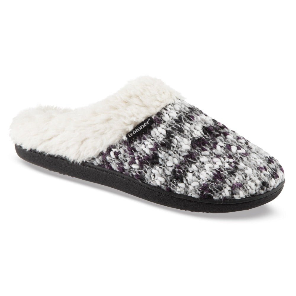 Women's Sweater Knit Amanda Hoodback Slippers in Heather with Purple Right Angled View
