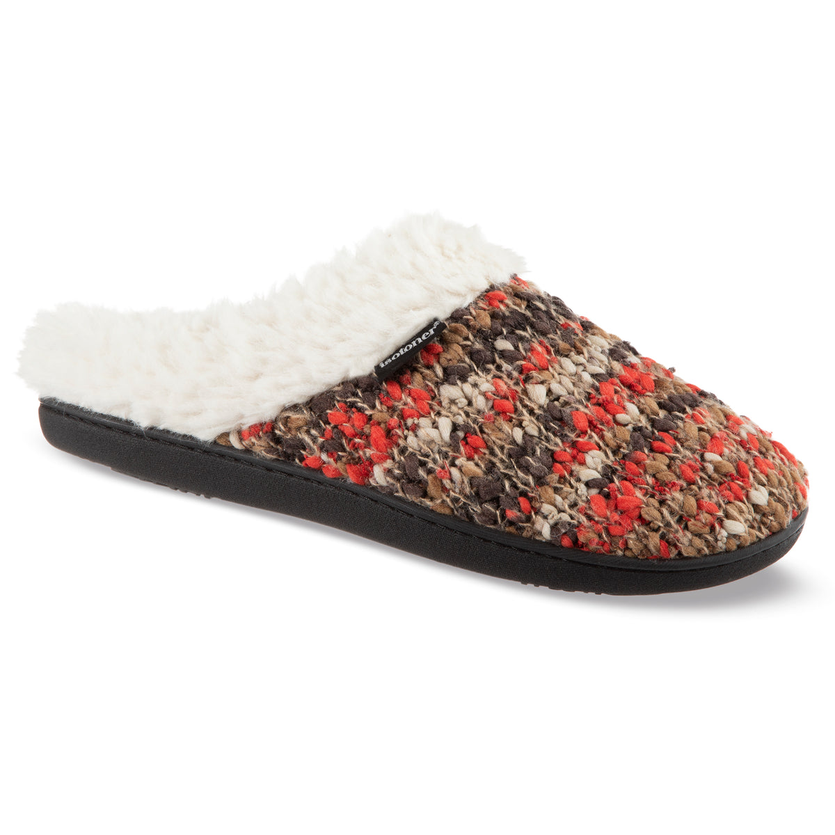 Women's Sweater Knit Amanda Hoodback Slippers in Heather with Orange Right Angled View