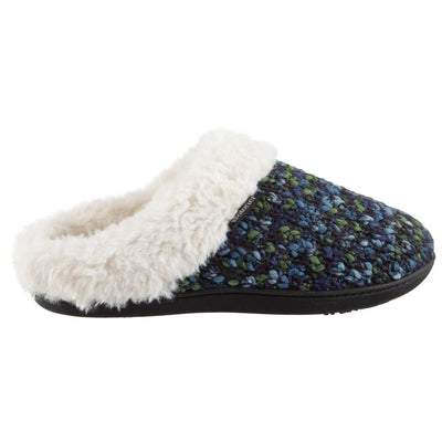Women's Sweater Knit Amanda Hoodback Slippers in Navy Blue with green Profile